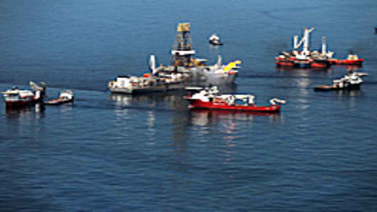 Drill ship recovering oil from the ruptured British Petroleum oil well over the site in the Gulf of Mexico off the coast of Louisiana.