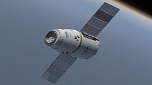 SpaceX's Dragon Spacecraft with solar panels deployed
