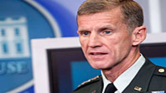 US military commander in Afghanistan General Stanley McChrystal speaks during the White House daily briefing at the White House in Washington, DC.