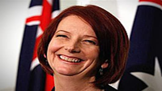 Australian Prime Minister Julia Gillard speaks during a press conference following the Australian Labor Party (ALP) leadership spill which saw Gillard call a leadership ballot for the role of Prime Minister at Parliament House on in Canberra, Australia.