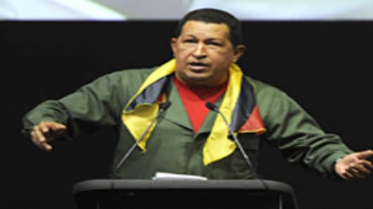 Venezuelan President Hugo Chavez speaks at Latin American summit