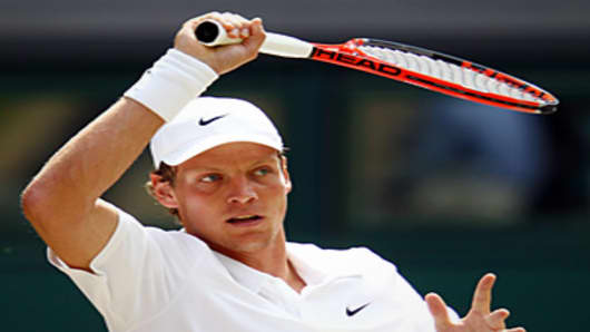 Tomas Berdych of Czech Republic in action during the Men's Singles Final match.
