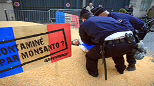 French policemen carry away a Greenpeace activist during a protest in front of the right-wing ruling UMP party headquarters in Paris on March 31, 2008. Greenpeace members demonstrated by dropping nine tons of corn 'not genetically modified' in front of the building a day ahead of the debate at the National Assembly on the bill on GMO.