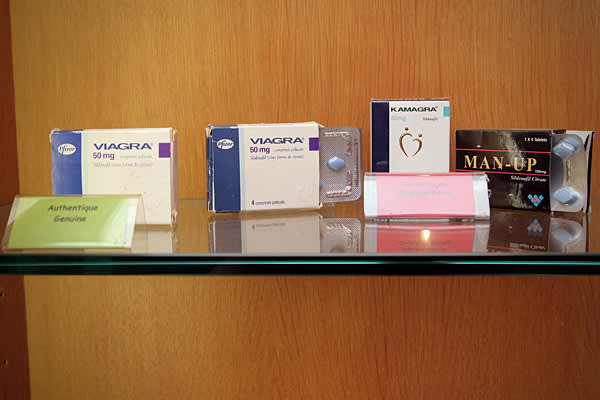 2009 Domestic Seizure Value: $11.06 millionPercent of Total Seizures: 4% Genuine and counterfeit Viagra displayed at The Counterfeit Museum in Paris, France.