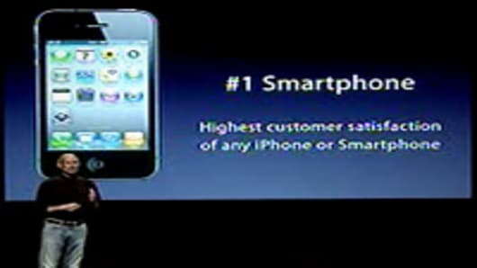 Steve Jobs talking about iPhone4 customer satisfaction at news conference on July 16, 2010.
