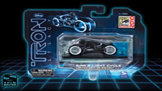 "A limited edition die-cast replica of Sam's Light Cycle from the ""Tron Legacy"" movie."