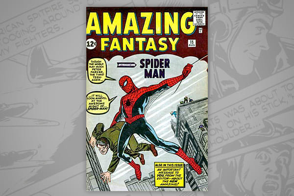 """CGC NM value: $263,000 Issue dated: August 1962 Originally selling for 12 cents per issue, the Amazing Fantasy #15 comic is valued around $263,000 for a near-mint copy. When the """"Amazing Fantasy"""" series was in dire financial straits, the publishers allowed writers to experiment with a new kind of superhero, a teenager who lives with more every day problems. From this issue, """"Spider-Man"""" was born. This issue is also listed at #1 on Marvels list of """"The 100 Greatest Marvels of All Time."""""""
