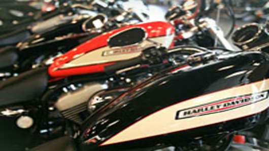 Harley-Davidson motorcycles are displayed inside the Chicago Harley-Davidson in Chicago, Illinois.