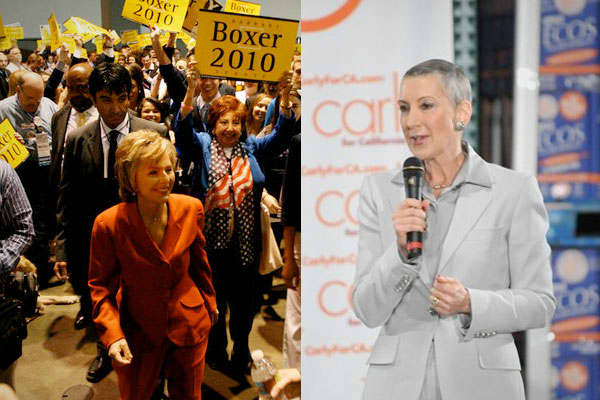 This race pits three-term Democratic incumbent Barbara Boxer (left), who worked her way up from local government, and political newcomer and former Hewlett-Packard CEO Carly Fiorina (R), who cut her political teeth as fundraiser and economic advisor for Sen. John McCain in the 2008 presidential race.