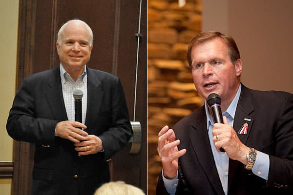 John McCain (R) is gunning for a fifth Senate term this fall, but first he' ll have to face J.D. Hayworth (R) in the republican primary August 24. Hayworth, a former congressman, has positioned himself as a more conservative candidate. Immigration, in particular Arizona's border problem with Mexico, is a major issue.