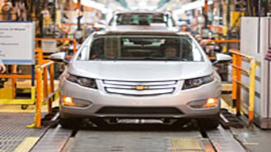 In this handout image provided by General Motors, The first pre-production Chevrolet Volt is on the assembly line at the Detroit-Hamtramck manufacturing plant in Detroit, Michigan.