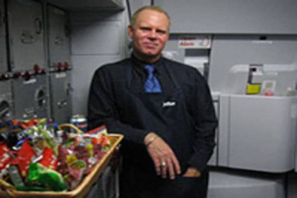 Steven Slater seen here in an undated photo aboard a JetBlue aircraft.