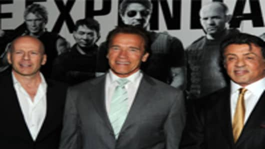 Gov. Arnold Schwarzenegger at the premier of The Expendables.