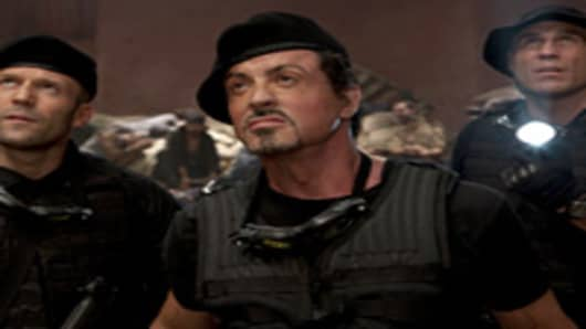 "Sylvester Stallone in the ""The Expendables"" which sold $35 million in tickets in its first weekend."