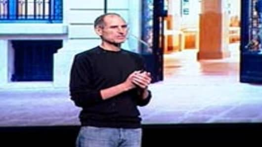 Steve Jobs announcing the opening of a new Apple store in Paris.