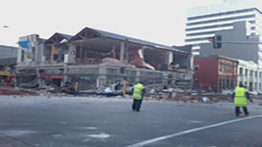Damage on Manchester street in Christchurch, New Zealand