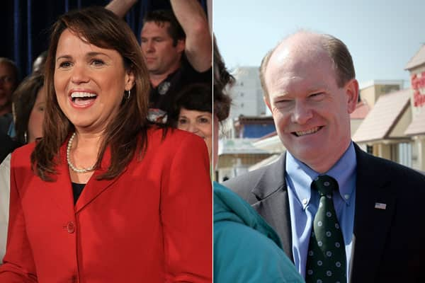 Conservative Christine O'Donnell (left) pulled off a stunning upset over nine-term Rep. Mike Castle in the Republican Senate primary in Delaware, propelled by tea party activists into a November showdown with Democrat Chris Coons.