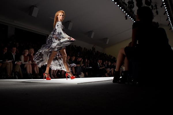 A model works the runway at the Naeem Khan Spring 2011 fashion show during the Mercedes-Benz Fashion Week at Lincoln Center on Sept. 16 2011, in New York City.