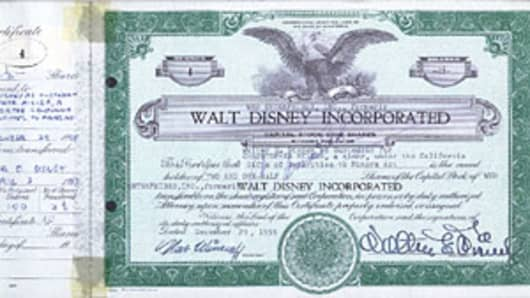 Antique Disney stock certificate, signed twice by Walt Disney, selling for $75,000.