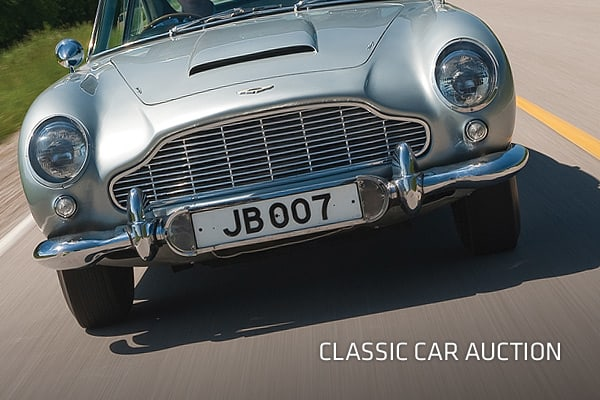 Lamborghinis, Jaguars and Ferraris are just some of the types of cars hitting the auction block in London this fall. But the main attraction at the event, being held by , is a 1964 Aston Martin that appeared in two James Bond films. It's expected to haul in a hefty seven-figure bid, partly because of its rarity. A second vehicle used in the films was reported stolen several years ago and is believed to have been destroyed. (Prices are in British Pounds). Click ahead to check out some of the clas