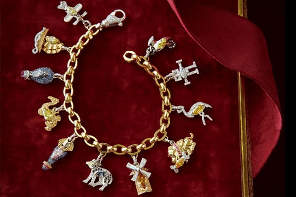 "Price: $248,000 In 1960, Stanley Marcus debuted the first ""His and Hers"" fantasy gift: matching Beechcraft airplanes that cost $176,000—an eye-popping amount at the time. To commemorate this event, the retailer offers up a precious jewelry charm bracelet with charms depicting memorable ""His and Hers"" gifts of the past: an airplane, a Chinese Junk, a hot air balloon, a camel, a sarcophagus, a Buffalo calf, a windmill, an ostrich, a Shar-Pei puppy, a robot and a vintage motorcycle. Only one will e"