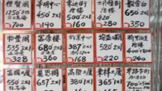 Property for Sale signs at a real estate in the Chinese district of Sheung Wan, Hong Kong Island, China.