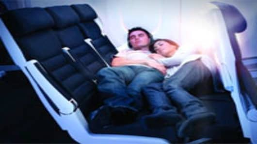 Skycouch turns a row of three seats in coach into a bed.