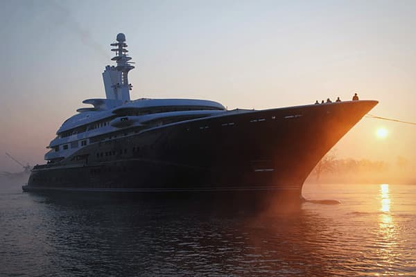 """Length: 437 feet Top speed: 23 knots Total power: 13,400 hp At approximately 437 feet, the Al Miqab, is the 10th largest yacht in the world. Owned by Qatar's Emir Hamad bin Jassim bin Jaber Al Thani, it was launched in 2008 and is estimated to value between $250 and $300 million. The vessel is considered one of the most beautiful in the world, awarded """"Motor Yacht of The Year"""" and """"Best Interior Design"""" at the World Super yacht Awards in 2009. The Al Mirqab can accommodate up to 60 guests and 60"""