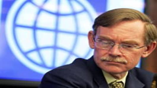 World Bank President Robert Zoellick addresses the media during a press conference following his meeting with Chinese Premier Wen Jiabao on September 2, 2009 in Beijing, China.