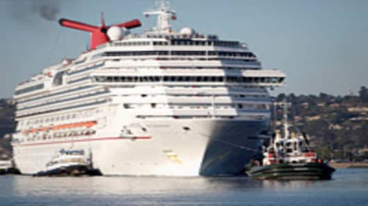 "Carnival Cruise Lines ""Splendor"" cruise ship towed into San Diego Bay"
