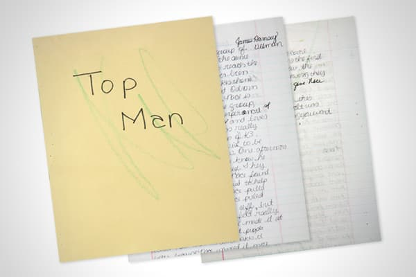 """Estimate: $600-$800 Before selling out arenas, Britney Spears was doing homework. Spears penned this two-page handwritten book report about the short story """"Top Man"""" by James Ramsey Ullman. The report has crayon scribbles and corrections made by her teacher."""
