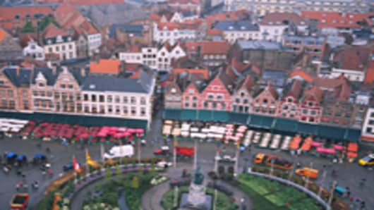 Aerial view of a town square Bruges Belgium