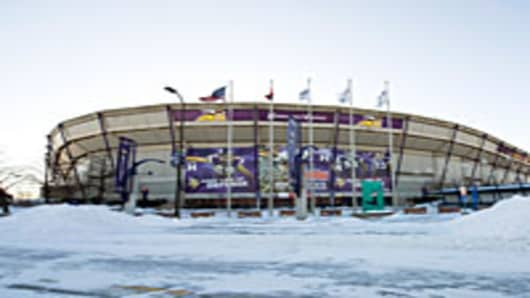 Snow surrounds the Hubert H. Humphrey Metrodome, Mall of America Stadium where the inflatable roof collapsed under the weight of snow during a storm Sunday morning December 12, 2010 in Minneapolis, Minnesota.