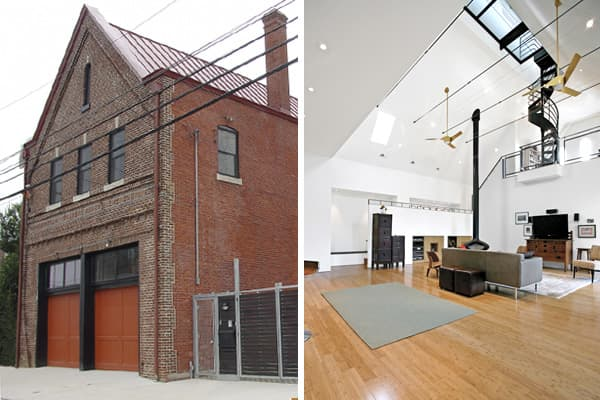 Location: Philadelphia, Penn., USA Architect: OnionflatsIn 2007 this structure, which started out as a trolley maintenance garage, then became a firehouse, was transformed to its third identity as home. The 5,000 square-foot space now features an observation deck over the living room, reclaimed lumber, and the attic was opened into a mezzanine.