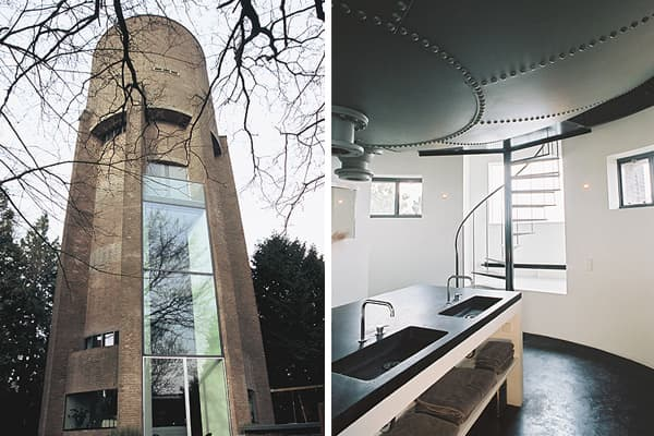 Location: Soest, Netherlands Architect: ZeccThis 1931 water tower was converted in 2002 into a nine-level modern private home using steel, concrete and glass, including a three-story window. Many former water towers have become homes, including one recently featured in the  and