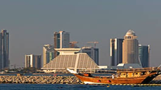 Skyline from Dhow Harbour in Qatar.