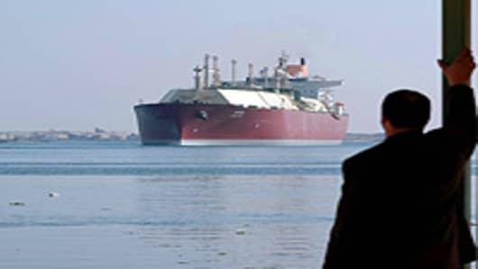 A Qatari gas tanker as its passes through the Suez Canal.