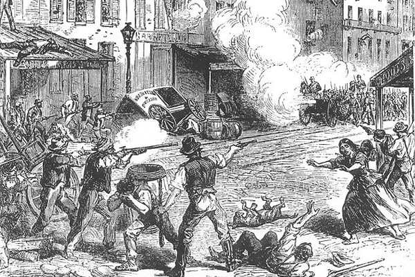 In 1863, citizens were drafted to serve on the Union side in the Civil War. However, a loophole existed, and anybody with $300 could pay a commutation fee and avoid conscription. In today's dollars, that fee would be equal to over $5000, a sum of money far out of the reach of poor and working-class people. Resentment at the situation eventually resulted in rioting, but those taking part soon targeted African-Americans, and large numbers were lynched in the streets and had their homes destroyed.