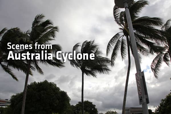 Clouds form over the central business district on Cairms waterfront as Queenslanders brace themsleves for Cyclone Yasi on February 1, 2011 in Cairns, Australia.