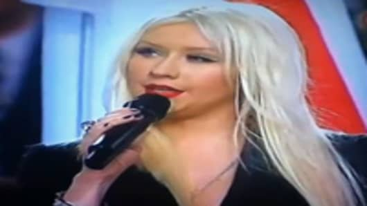Christina Aguilera sings the National Anthem at Superbowl 2011
