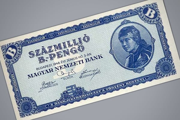 Highest monthly inflation: 13,600,000,000,000,000% Prices doubled every: 15.6 hours The worst case of hyperinflation ever recorded occurred in Hungary in the first half of 1946. By the midpoint of the year, Hungary's highest denomination bill was the 100,000,000,000,000,000,000 (One Hundred Quintillion) pengo, compared to 1944s highest denomination, 1,000 pengo. At the height of Hungary's inflation, the CATO study estimates that the daily inflation rate stood at 195 percent, with prices doubling