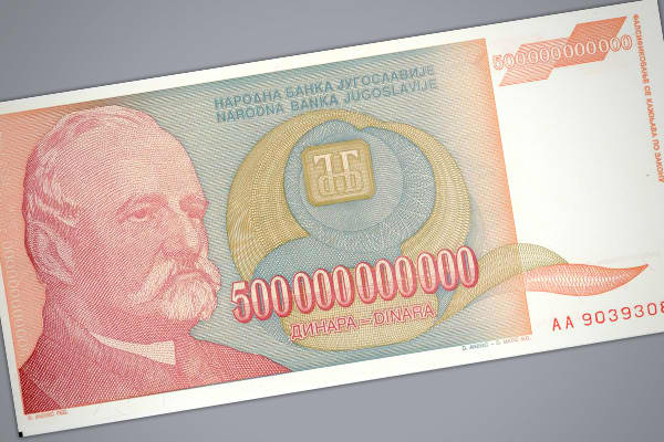 Highest monthly inflation: 313,000,000% Prices doubled every: 1.4 days Another extreme case of hyperinflation with the Yugoslavian dinar between 1993-1995. The steepest rate of inflation during this period was in January 1994, when prices rose 313 million percent over the month, which is equivalent to 64.6 percent per day, with prices doubling approximately every 34 hours. During the entire period of inflation, it is estimated that prices increased by 5 quadrillion percent. Eventually, many Yugo