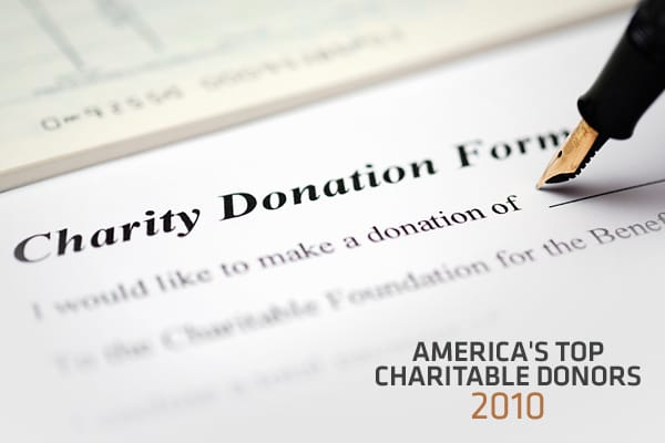 Despite more than 50 billionaires announcing last year they would devote at least half of their wealth to charity, few made big gifts in 2010, according to a new ranking of the  in America by The Chronicle of Philanthropy.The three biggest names in philanthropy—Bill and Melinda Gates and Warren Buffett—don't appear in the rankings because the money they gave in 2010 ($46.4 million and $1.9 billion, respectively) was to pay off pledges announced in previous years. The list includes only new pledg