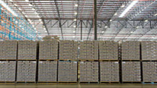 Goods stacked up in warehouse