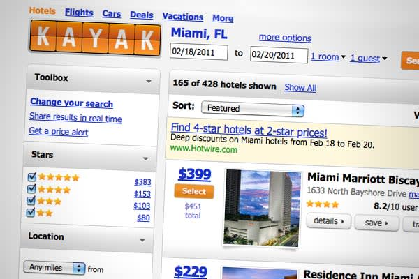 Website:  The genius of Kayak is convenience: it searches hundreds of travel sites at once. Kayak also allows users to view at a glance the cheaper days to buy the same flights, among other handy features.  An April weekend flight from NYC to New Orleans for $222.  has long collected travel deals for the masses. More recently, numerous private sale sites like Ideeli and Bloomspot offer vacation deals to resorts and high-end hotels, and TripAdvisor just launched Snique Away, which has the benefit