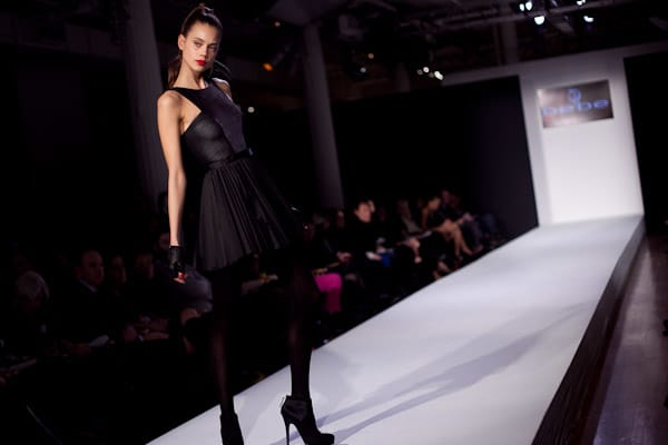 A model walks down the runway for bebeBlack Fall 2011 presented by Polaroid Sunglasses on February 16 during New York Fashion Week at the Metropolitan Pavilion, New York City.