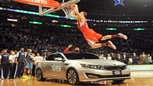 Blake Griffin from the L.A. Clippers in the All-Star Dunk Contest.