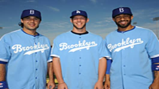 Dodgers in the throwback jerseys