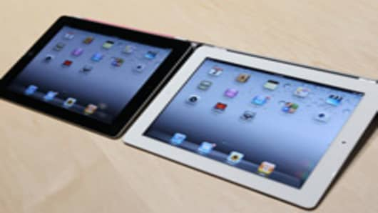 Black and white versions of the new iPad 2.