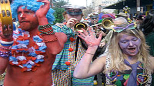 Revelers on Mardi Gras Day, New Orleans
